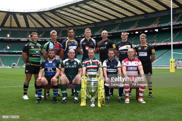 Back row from left Northampton's Dylan Hartley Harlequins' Chris Robshaw Leeds' Andy Keys Newcastle's James Hudson Saracens' Steve Borthwick Exeter's...