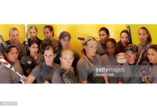 Stacey Nuveman, Caitlin Lowe, Vicky Galindo, Jessica Mendoza, and Tairia Flowers. Front Row From Left: Andrea Duran, Lauren Lappin, Natasha Watley,...