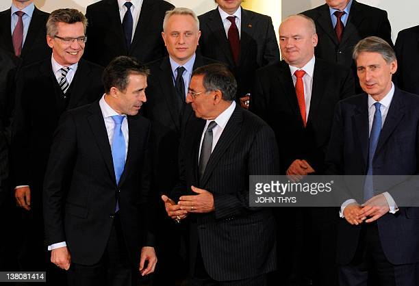Back row German defence minister Thomas de Maiziere Greek defence minister Dimitrios Avramopoulos Hungary defence minister Csaba Hende and front row...
