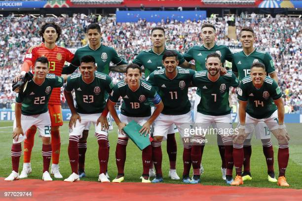 back row goalkeeper Guillermo Ochoa of Mexico Hugo Ayala of Mexico Carlos Salcedo of Mexico Hector Herrera of Mexico Hector Moreno of Mexico front...
