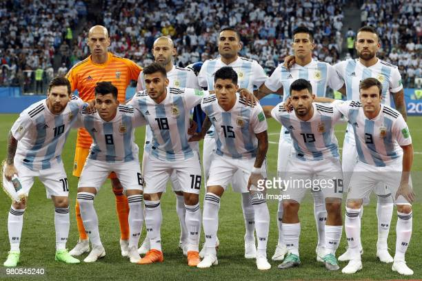 back row goalkeeper Willy Caballero of Argentina Javier Mascherano of Argentina Gabriel Mercado of Argentina Maximiliano Meza of Argentina Nicolas...