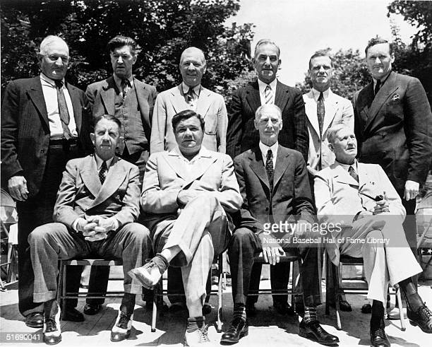 Back row Honus Wagner Grover Cleveland Alexander Tris Speaker Nap Lajoie George Sisler Walter Johnson Front row Eddie Collins Babe Ruth Connie Mack...