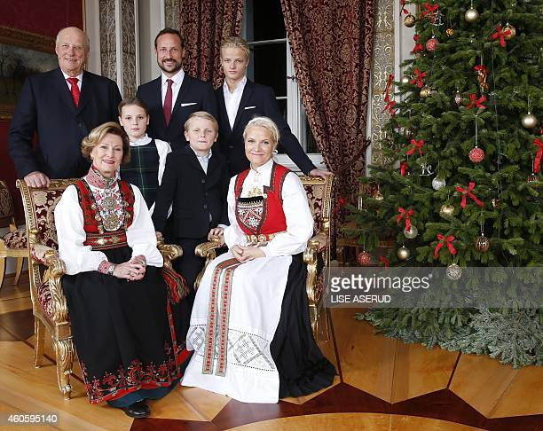 Back row King Harald Crown Prince Haakon and Crown Prince Marius Borg Hoiby front Queen Sonja Princess Ingrid Alexandra Prince Sverre Magnus and...