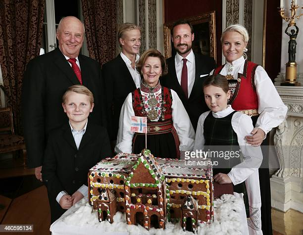 Back row King Harald Crown Prince Marius Borg Hoiby Crown Prince Haakon and Crown Princess MetteMarit front Prince Sverre Magnus Queen Sonja and...