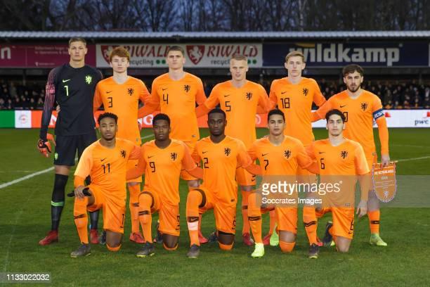 Back row Kjell Scherpen of Holland U19 Sepp van den Berg of Holland U19 Sven Botman of Holland U19 Mitchel Bakker of Holland U19 Wouter Burger of...