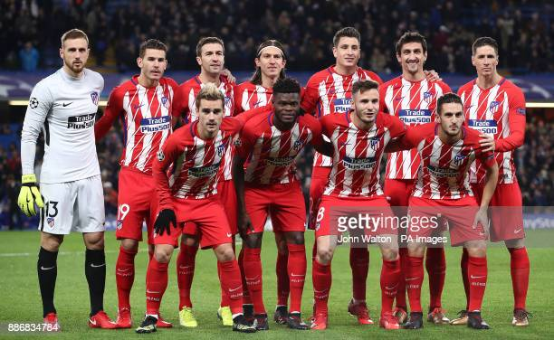 Back row left to right Atletico Madrid's Jan Oblak Hernandez Lucas Fernandez Gabi Kasmirski Filipe Luis Jose Maria Gimenez Stefan Savic Fernando...