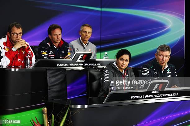 Back row left to right Ferrari Team Principal Stefano Domenicali Infinti Red Bull Racing Team Principal Christian Horner McLaren Team Principal...
