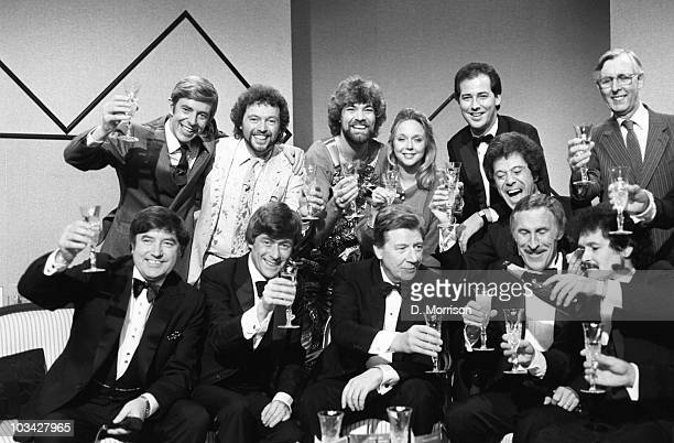 Henry Kelly Jeremy Beadle Matthew Kelly Sarah Kennedy Michael Barrymore Lionel Blair and weatherman Jack Scott Front left to right Jimmy Tarbuck Mike...