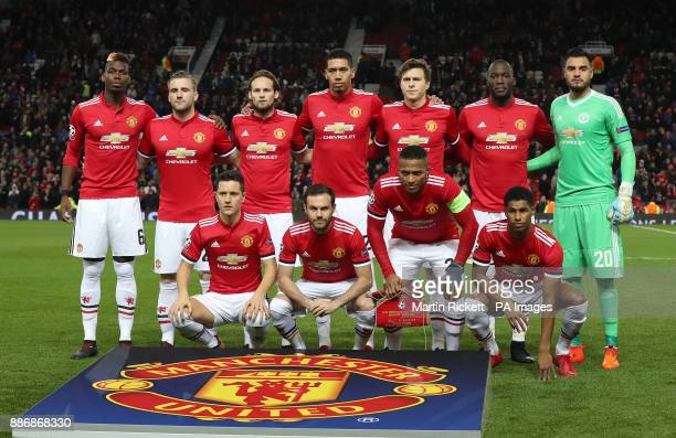 Back row left to right Manchester United's Paul Pogba Luke Shaw Daley Blind Chris Smalling Victor Lindelof Romelu Lukaku Sergio Romero Front row left...