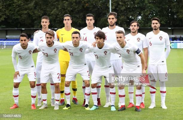 Back Row left to right Portugal U21's Fernando Fonseca Joel Castro Pereira Diogo Leite Jorge Fernandes Yuri Ribeiro Pepe Rodrigues Front row left to...
