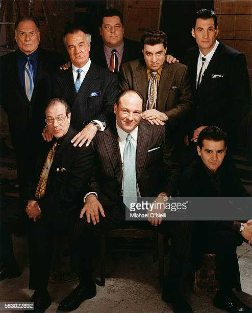 Arthur Nascarella Tony Sirico Steve Schirripa Steven Van Zandt and Robert Funaro Back row LR Dan Grimaldi James Gandolfini and Max Casella