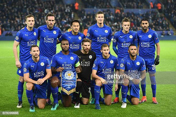 Leicester City's Welsh midfielder Andy King Leicester City's Austrian defender Christian Fuchs Leicester City's Japanese striker Shinji Okazaki...
