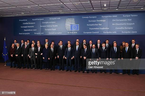 Back Row L-R Luxembourg Prime minister Xavier Bettel, Latvian Prime Minister Maris Kucinskis, Italian Prime minister Matteo Renzi, Greek Prime...
