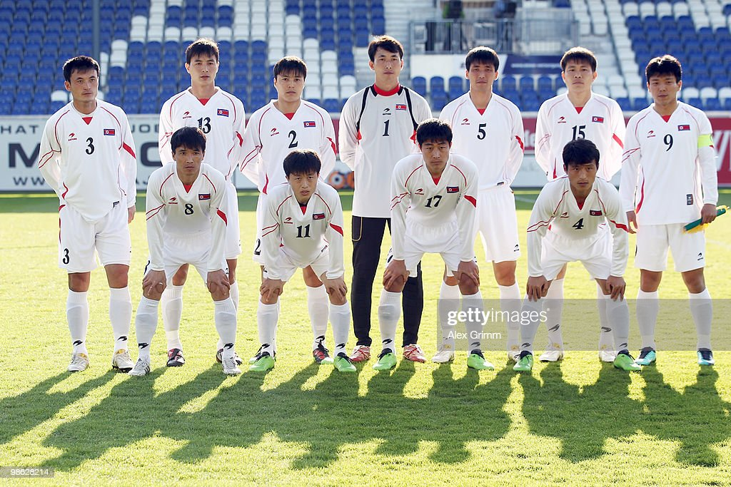 Ri Jun Il, Pak Chol Jin, Cha Jong Hyok, Ri Myong Guk, Ri Kwang Chon, Kim Yong Jun, Hong Yong Jo, front row, L-R: Ji Yun Nam, Mun In Guk, Choe Kum Chol and Pak Nam Chol of North Korea pose for a team picture before the international friendly match between South Africa and North Korea at the Brita arena on April 22, 2010 in Wiesbaden, Germany.