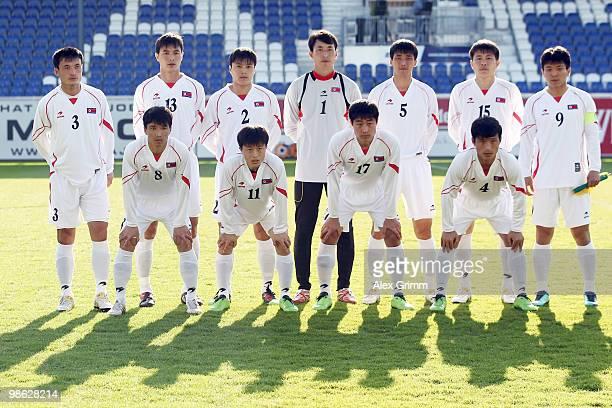 Back row LR Ri Jun Il Pak Chol Jin Cha Jong Hyok Ri Myong Guk Ri Kwang Chon Kim Yong Jun Hong Yong Jo front row LR Ji Yun Nam Mun In Guk Choe Kum...