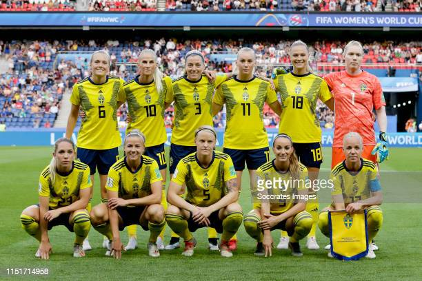 Back row Magdalena Eriksson of Sweden Women Sofia Jakobsson of Sweden Women Linda Sembrant of Sweden Women Stina Blackstenius of Sweden Women...