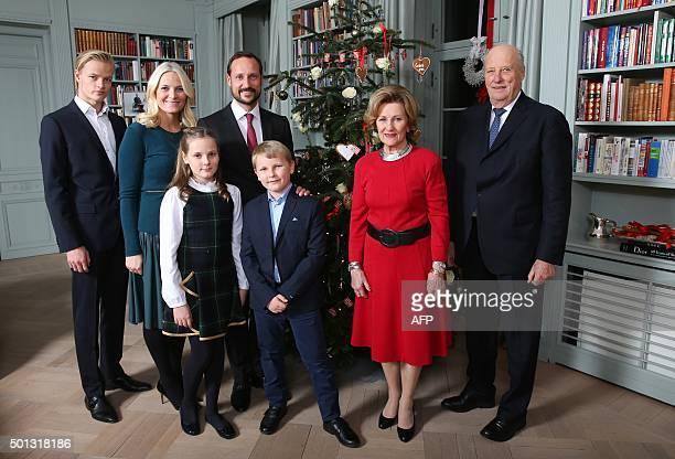 Back row Marius Borg Hoiby Norway's Crown Princess MetteMarit Norway's Crown Prince Haakon front Princess Ingrid Alexandra Prince Sverre Magnus...
