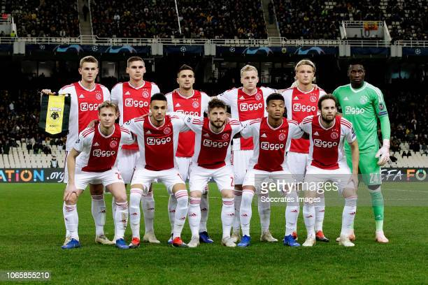 back row Matthijs de Ligt of Ajax Maximilian Wober of Ajax Dusan Tadic of Ajax Donny van de Beek of Ajax Kasper Dolberg of Ajax Andre Onana of Ajax...