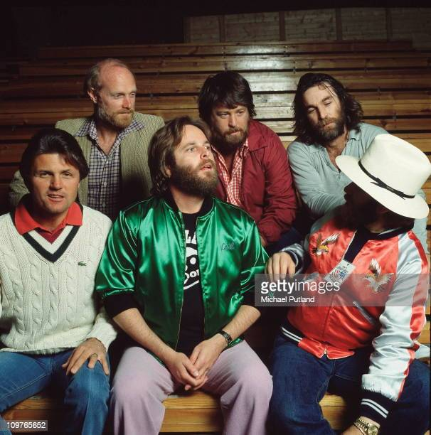 Back row Mike Love Brian Wilson and Dennis Wilson Front row Bruce Johnston Carl Wilson and Al Jardine of American group the Beach Boys pose in Oslo...