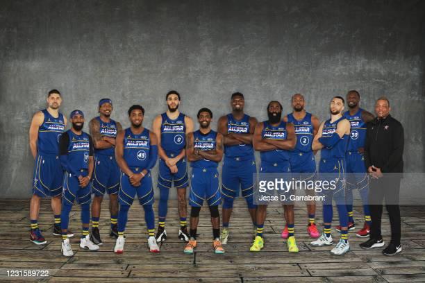 Back Row: Nikola Vucevic, Bradley Beal, Jayson Tatum, Zion Williamson, Kawhi Leonard, Julius Randle. Front Row: Mike Conley, Donovan Mitchell, Kyrie...