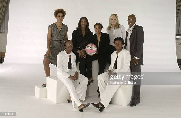 Back Row Nykesha Sales Tammy SuttonBrown Dawn Staley Penny Taylor and Sheri Sam Front Row Shannon Johnson and Andrea Stinson pose for a portrait...