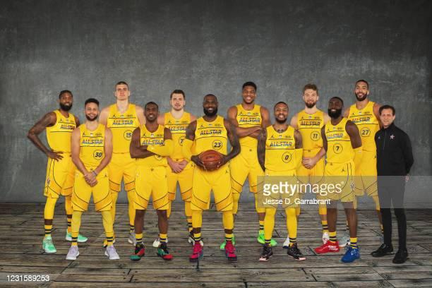 Back Row: Paul George, Nikola Jokic, Luka Doncic, Giannis Antetokounmpo, Domantas Sabonis, Rudy Gobert. Front Row: Stephen Curry, Chris Paul, LeBron...
