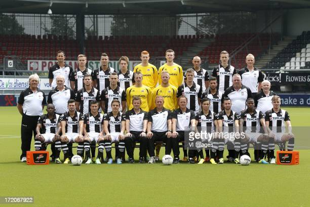 Back Row Physiotherapist Niki Leferink of Heracles Almelo Mathias Schamp of Heracles Almelo Jason Davidson of Heracles Almelo Joey Belterman of...