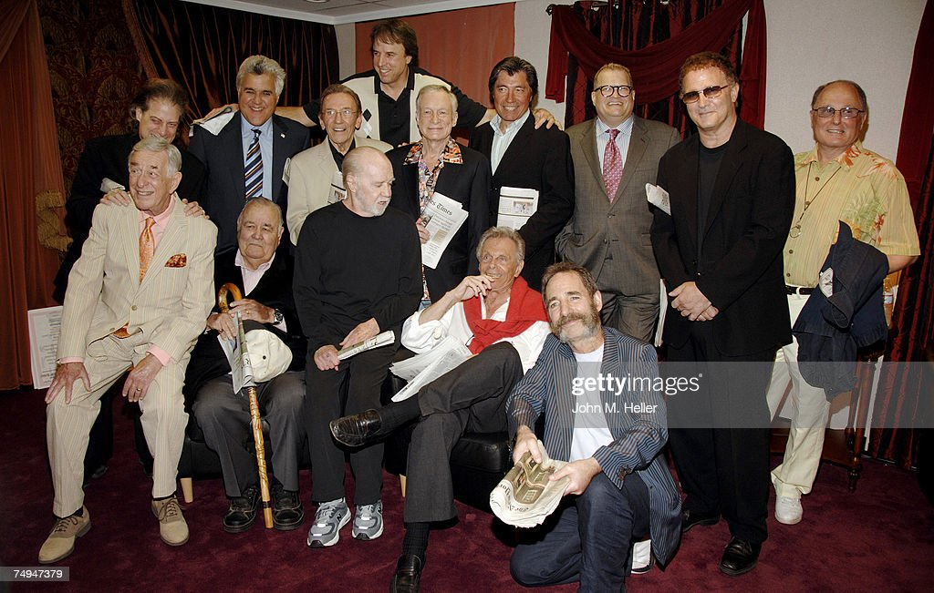 Back Row Richard Lewis, Jay Leno, Norm Crosby, Kevin Nealon, Hugh Hefner, Ross Shafer,co-founder and Executive Director of the Heartland Comedy Foundation, Drew Carey, Albert Brooks, Bud Friedman, (L-R) Front Row Shelley Berman, Jonathan Winters, George Carlin, Mort Sahl and Harry Shearer attend the All-Star Comedy salute to Mort Sahl in honor of his 80th birthday at the Wadsworth Theater, Brentwood on June 28, 2007 in West Los Angeles, California.