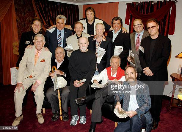 Back Row Richard Lewis, Jay Leno, Norm Crosby, Kevin Nealon, Hugh Hefner, Ross Shafer,co-founder and Executive Director of the Heartland Comedy...