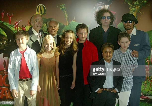 Richard Zanuck Tim Burton and Johnny Depp Front Row Jordan Fry AnnaSophia Robb Julia Winter Phillip Wiegratz Deep Roy and Freddie Highmore