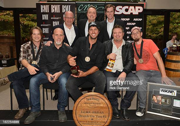 Back row Ron Cox Avenue Bank Jody Williams BMI and Cooper Samuels Avenue Bank Front row Josh Kear Producer Jeff Stevens Luke Bryan Rodney Clawson and...
