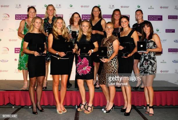 Back Row Samantha Stosur and Rennae Stubbs of Australia, Cara Black of Zimbabwe, Liezel Huber of USA, Agnieszka Radwanska of Poland,Vera Zvonareva of...