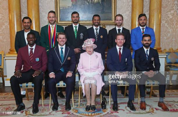 Back row : Sarfaraz Ahmed , Francois du Plessis , Masrafe Bin Mortaza , Dimuth Karunaratne , Kane Williamson , Gulbadin Naib , front row Jason Holder...