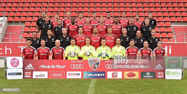 technical assistant Michael Klattenbacher Ingolstadt's midfielder Maurice Multhaup Ingolstadt's midfielder Sonny Kittel Ingolstadt's Austrian...