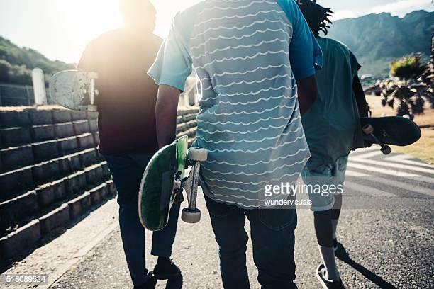 Back Shot of Skater Friends Walking with Skateboards Down Road