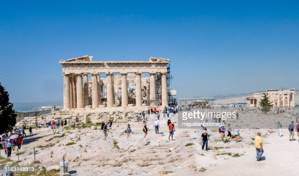 back side of the acropolis - parthenon athens stock pictures, royalty-free photos & images