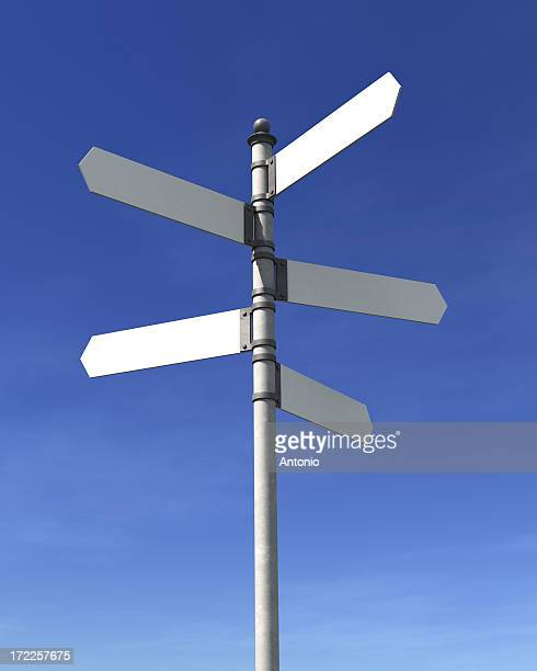 Back signpost pointing in different directions