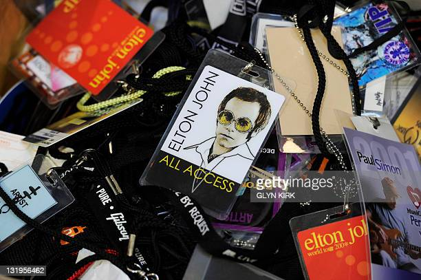 Back stage pases to British singer Elton John and other artist's concerts are pictured at Gorringes auctioneers in Lewes southern England on October...