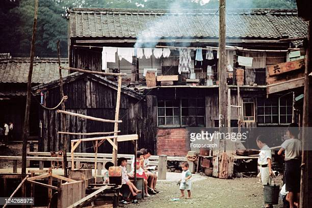back street of shibuya in showa - showa period stock pictures, royalty-free photos & images