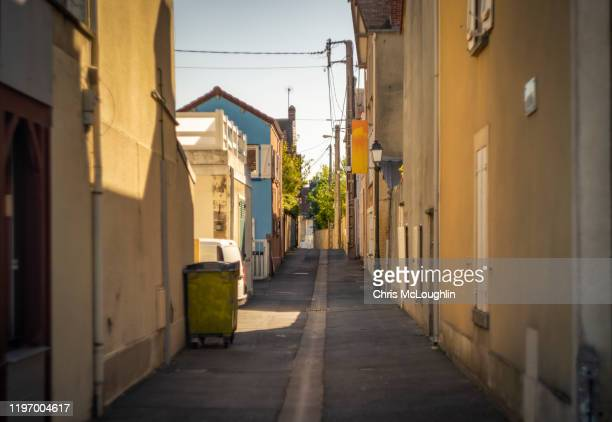 back street, saint-aubin-sur-mer, sword beach site - allied forces stock pictures, royalty-free photos & images