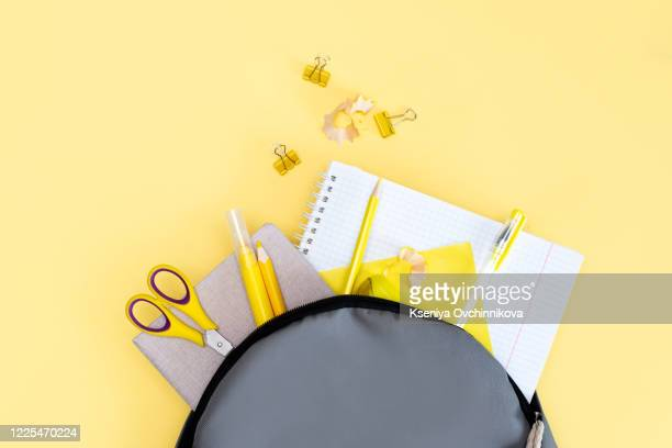 back to school concept. backpack with school supplies. top view. copy space - personal accessory stock pictures, royalty-free photos & images