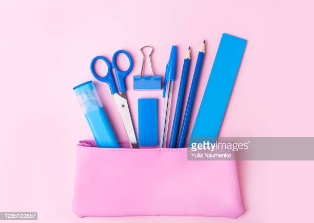 back to school concept, pencil case, stationery and school supplies. top view, copy space, pink background. - pencil case stock pictures, royalty-free photos & images