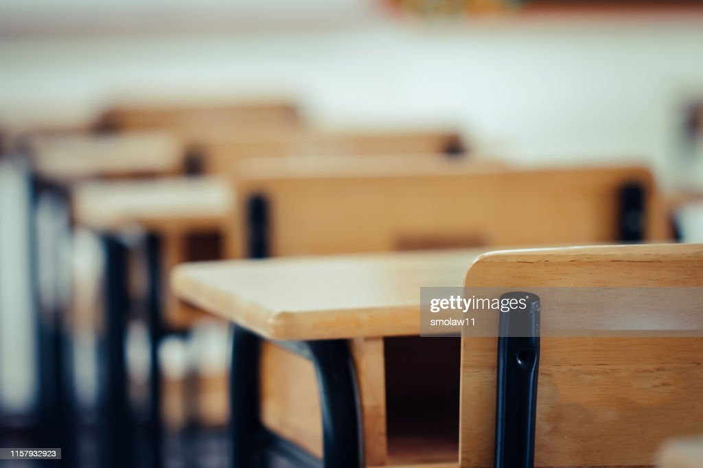Back to school concept. School empty classroom, Lecture room with desks and chairs iron wood for studying lessons in highschool thailand without young student, interior of secondary education : Stock Photo