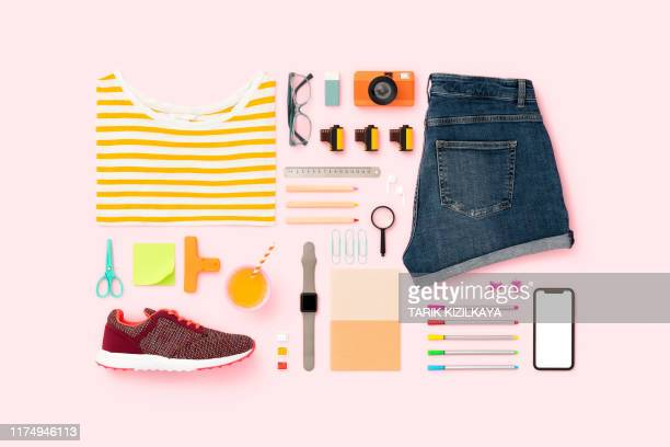 back to school flat lay on pink background - womenswear stock pictures, royalty-free photos & images