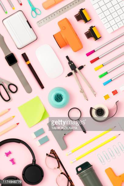 back to school flat lay on pink background - stationary stock pictures, royalty-free photos & images
