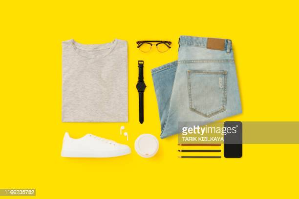 back to school flat lay on yellow background. - flat lay stock pictures, royalty-free photos & images