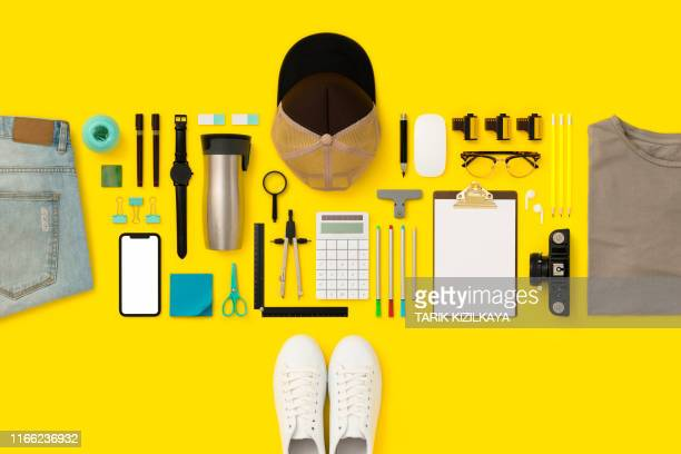 back to school flat lay - yellow hat stock pictures, royalty-free photos & images