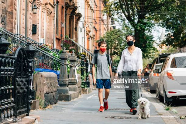back to school in covid-19 time - new york city stock pictures, royalty-free photos & images