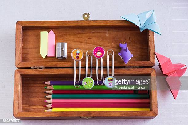 back to school knolling - pencil case stock photos and pictures