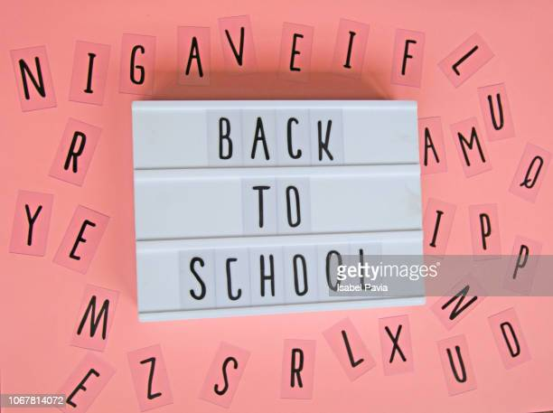 """""""back to school"""" message in light box - school icon stock photos and pictures"""